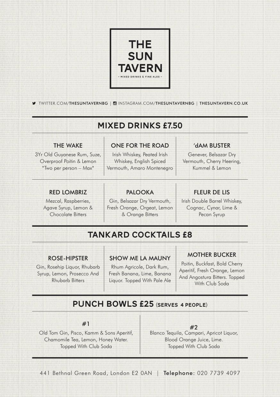 The Sun Tavern - Summer Menu - Drinks (2015)